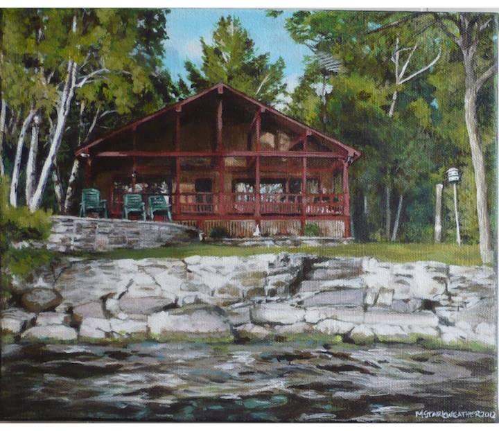 "Podedworny Cottage (Otty Lake), 2012, Acrylic Painting on Canvas, 10"" x 12"""