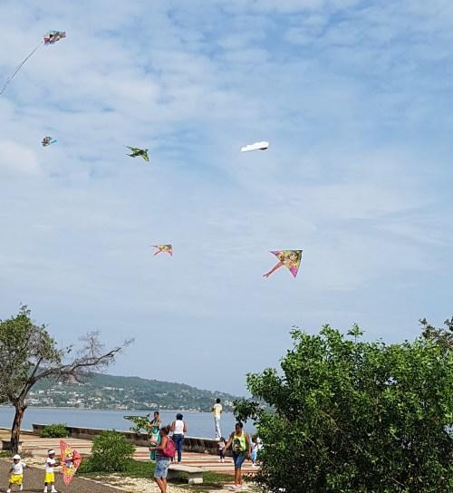 Flying kites Cartagena beach