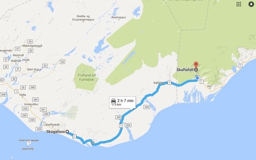 Map Selfoss to Skaftafell