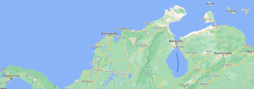 Western Caribbean map including Colombia