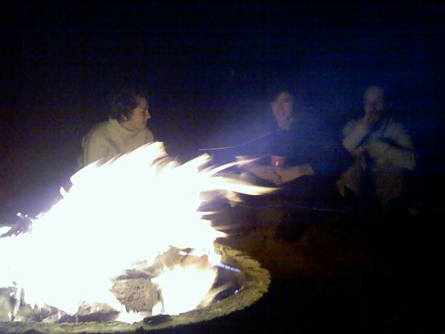 people drinking around a bonfire