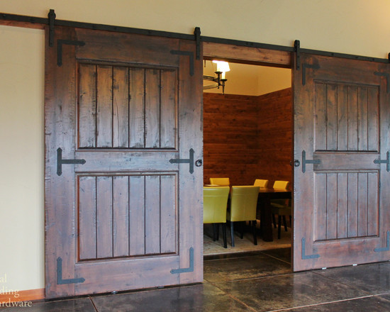 Rustic Barn Door Hardware On Wine Tasting Room (Portland)