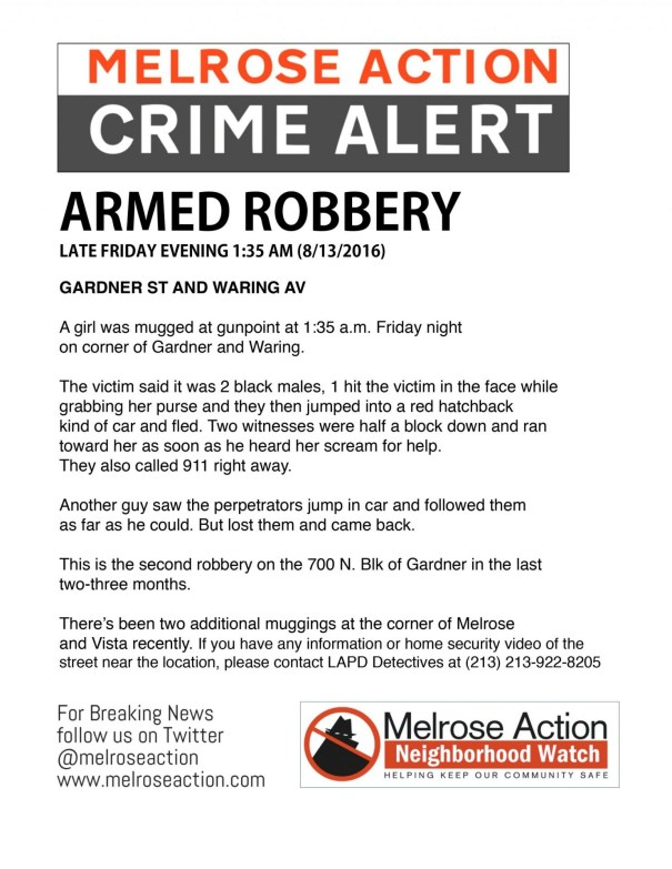 Melroseaction crime alert 8/13/2016