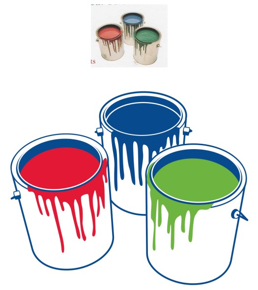 photo of paint cans above, illustration reduced to red, green and blue below