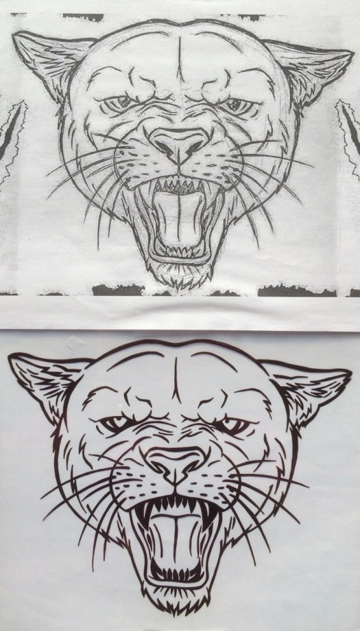 student drawing of a cougar head on top, then my hand trace and reversal of it below