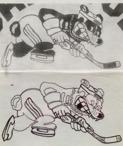 scan of sample shirt above, trace underneath of a cartoon bear hockey player