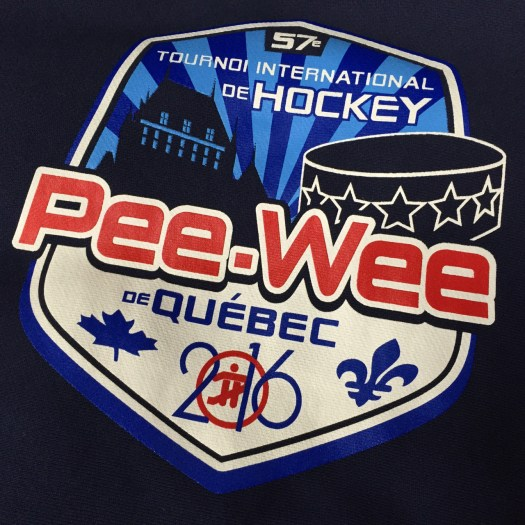Printed t-shirt: shield logo with hockey puck, Chateau Frontenac, Canadian logos