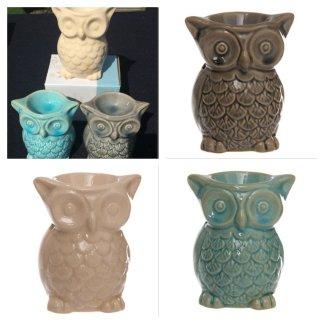 OB194 Ceramic Crackle Glaze Owl Oil Burner