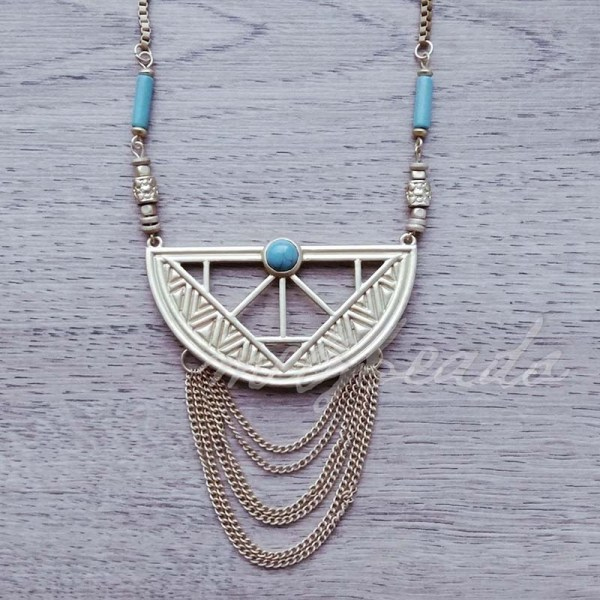 Gold Necklace with Turquoise Semi Precious Stones