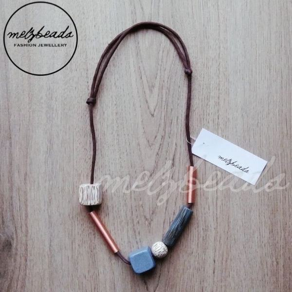 Geometric Cube Wooden Copper Necklace