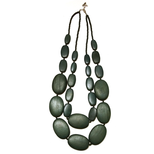 Grey Double Strand Statement Necklace
