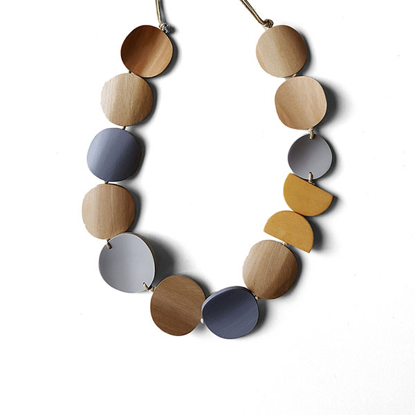 Wooden Discs Rope Necklace