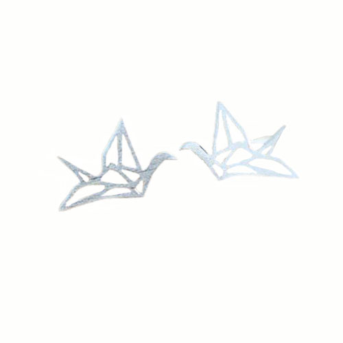 Sterling silver crane stud earrings
