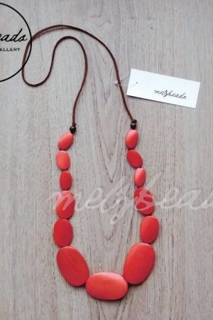 Red Multi Size Oval Wooden Beads Necklace