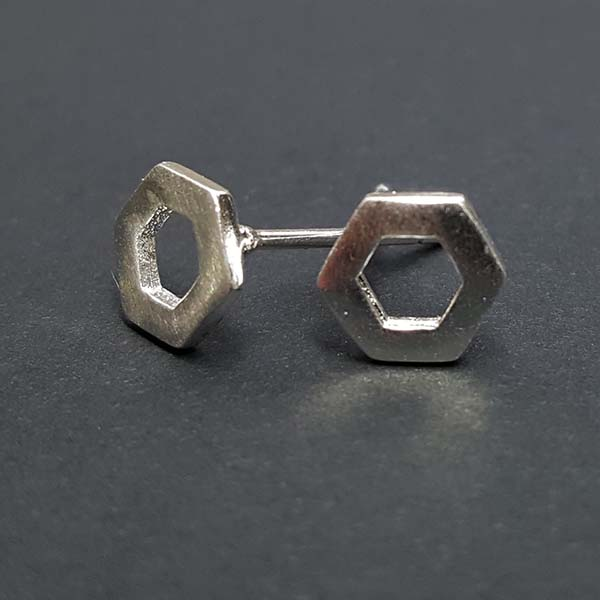 Tiny Hexagon Geometric Sterling Silver Stud Earrings