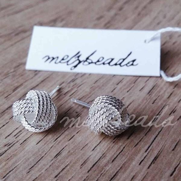 Sterling Silver Twist Knot Stud Earrings