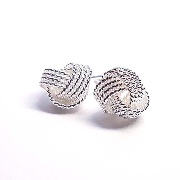 knot twist stud earrings sterling silver