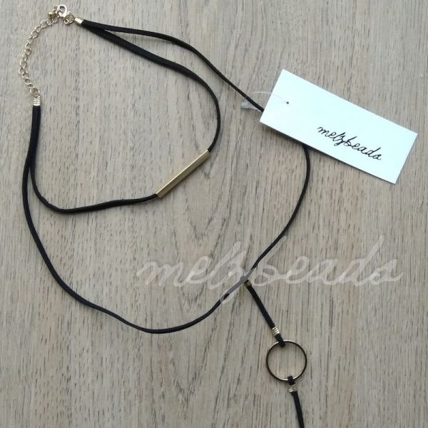 Layered Black Suede Gold Fashion Necklace