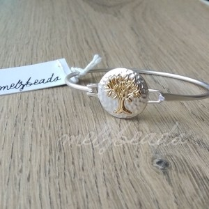 Gold on Silver Tree Of Life Bangle