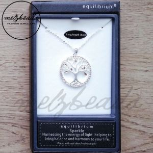 Equilibrium Silver & Rose Gold Tree of Life Long Pendant Necklace