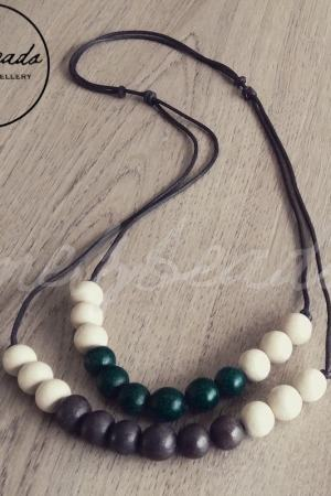double strand cream brown green wooden bead necklace