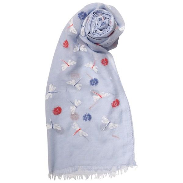 blue dragonfly lightweight scarf