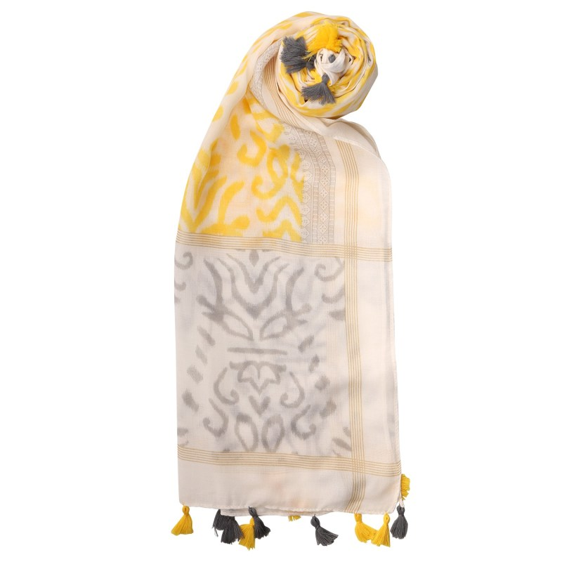 yellow white tassel scarf