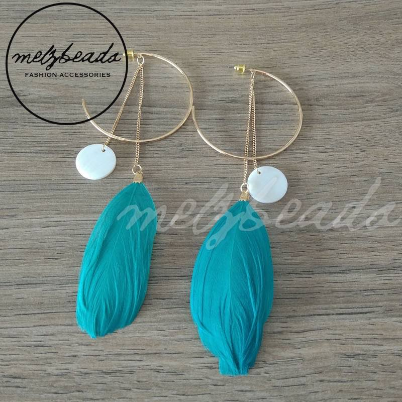 teal turquoise feather earrings