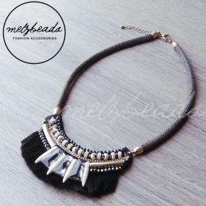 black tribal statement necklace