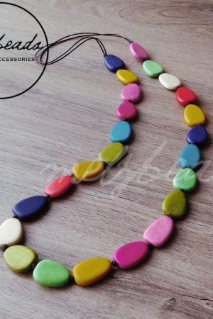 Multi colour wooden bead necklace