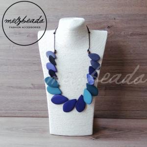 Blue Leaf Wooden Necklace