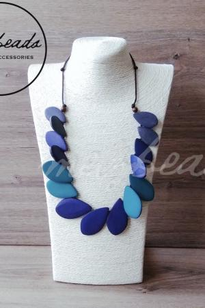 Blue Leaf Wooden Necklace