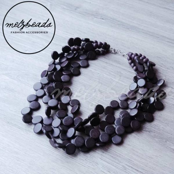 Layered Coin Circle Wooden Necklace