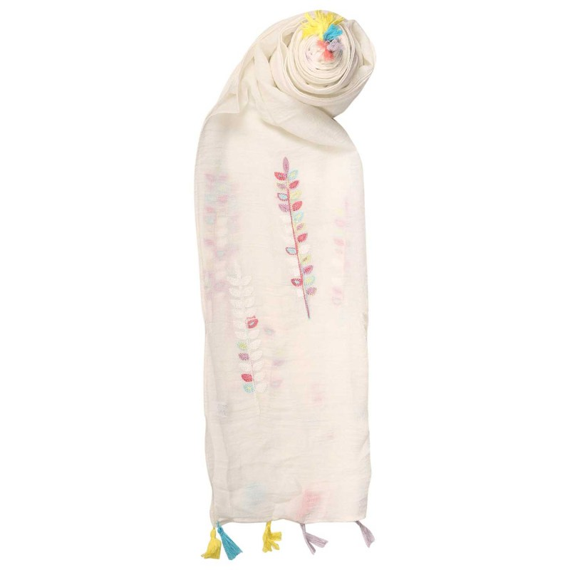 White Tassel Scarf with Vine Embroidery