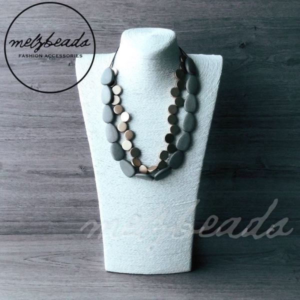 grey gold wooden necklace