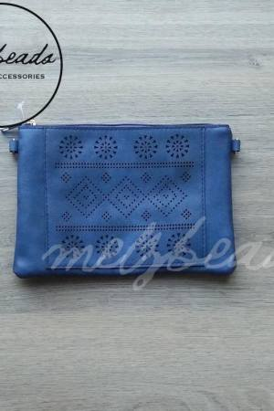 Blue clutch handbag