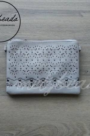 Light Grey clutch handbag