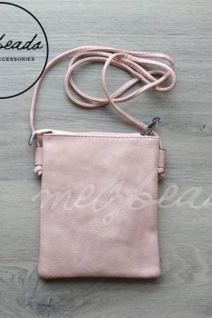 Pink Faux Leather Crossover Bag