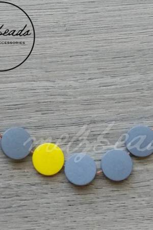 Yellow Grey Wooden Disk Necklace
