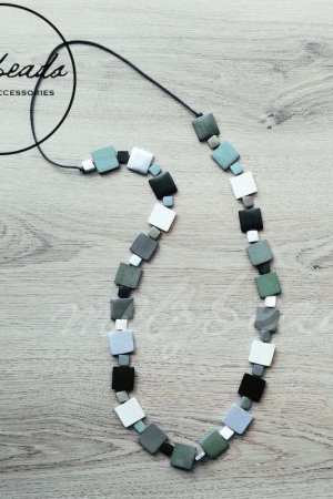 Teal Silver Squares Long Wooden Bead Necklace