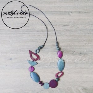 Grey Purple Bird Oval Wooden Beads Necklace