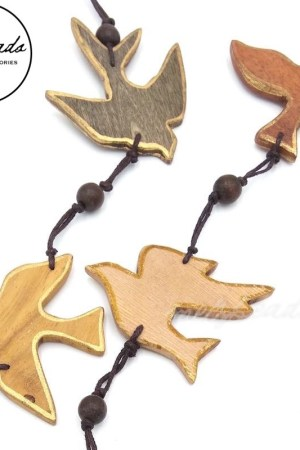 BIRD SPARROW GOLD EDGE WOODEN NECKLACE