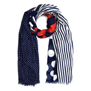 Red Blue Stripes & Dots Cotton Scarf