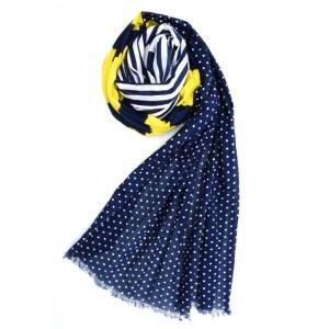Blue Yellow Stripes & Dots Cotton Scarf