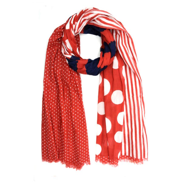 Red Stripes & Dots Cotton Scarf