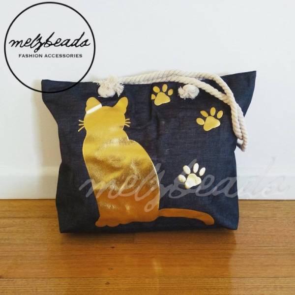 Large Black Gold Cat Paw Shopping Beach Bag