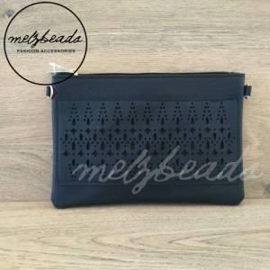 Black Leather Clutch Pattern Shoulder Bag