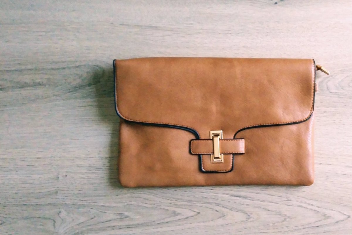 Brown Leather Clutch Shoulder Bag