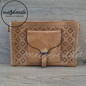 Coffee Leather Clutch Pattern Shoulder Bag