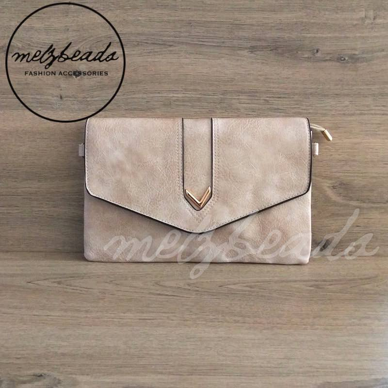 Beige Leather Clutch Shoulder Bag